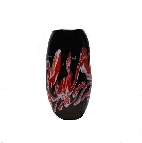 - European Art Glass Diamanti Vase in Black with Red and Opal Swirl Highlights