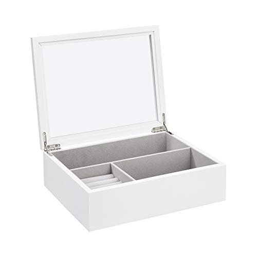 AmazonBasics Wooden Jewelry/Watch Box with Glass Top, White