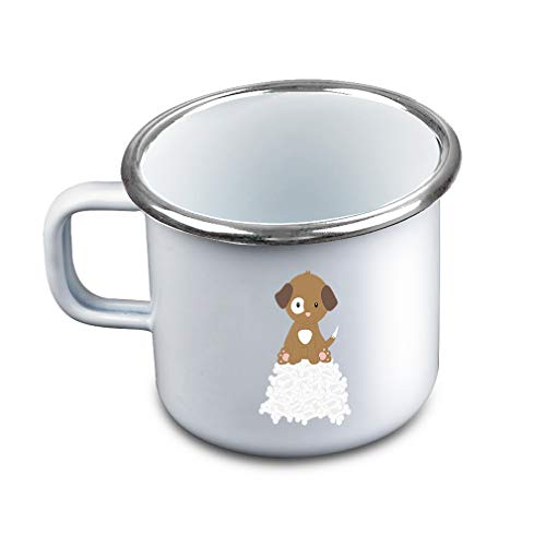 Brown White Puppy Bones Metal Camping Mug Enamel Cup