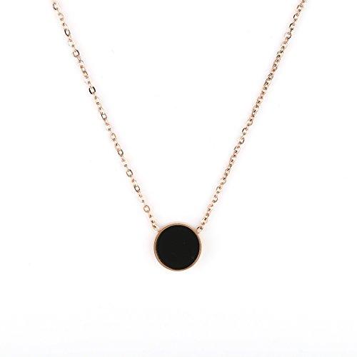United Elegance Contemporary Rose Tone Designer Necklace with Petite Jet Black Faux Onyx Circular Geometric Pendant Jet Cross Necklace