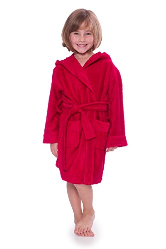 Kid's Hooded Terry Cloth Bathrobe - Cozy Robe by for Kids Texere (Rub-A-Dub, Tango Red, Small) Cute Grandson Granddaughter KB0101-TRD-S ()