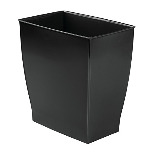 mDesign Rectangular Trash Can Wastebasket, Small Garbage Container Bin for Bathrooms, Powder Rooms, Kitchens, Home Offices - Shatter-Resistant Plastic, Black by mDesign