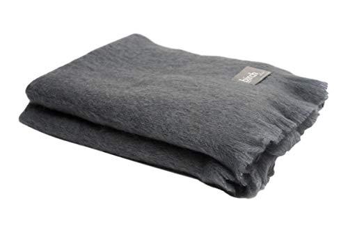- Simply Birch Slate Grey Mohair Throw Blanket