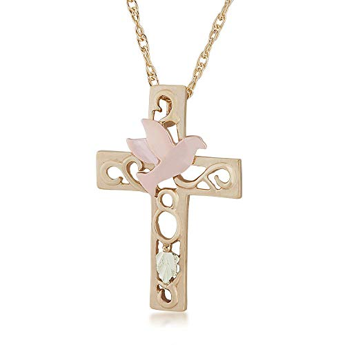Black Hills Gold Ladies' Cut-Out Cross & Dove Pendant in 10K Yellow Gold - G SD20408