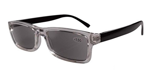 Reading Plastic Tinted (Eyekepper Clear Plastic Frame Black Arms Grey Tinted Readers Reading Glasses W/case +4.00)