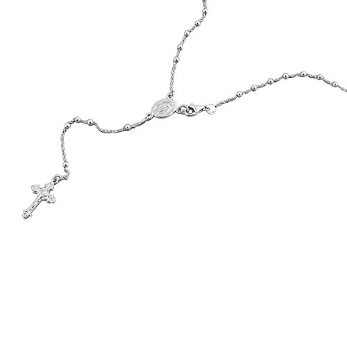 (Double Accent Rhodium Plated Sterling Silver Rosary Necklace 2.5mm Bead Cross Italian Rosary Chain (16