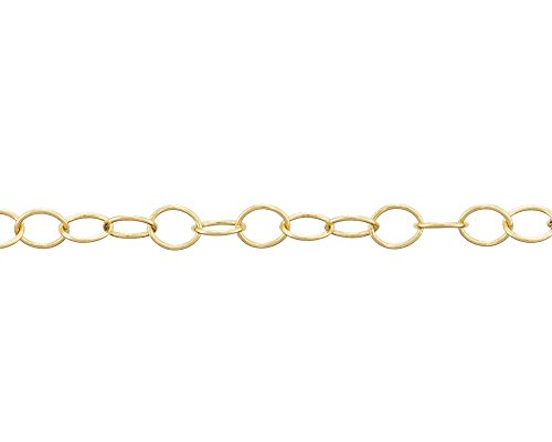 Round Cable Link Chain 5mm Gold Plated (Foot) (Round Link Cable Chain)