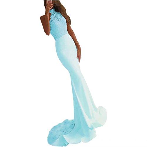 Blue Bridesmaid Halter Evening Dresses Dresses Sky Prom Mermaid Dimei Mermaid 2018 Lace Long Formal Sexy Gowns gx8Sg0qZwF