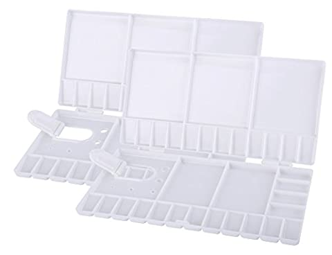 2 Pieces Watercolor Folding Palettes,Velar Dohaeris 33 Mixing Grids White Plastic Oil Paint Trays Box Cover with Thumbhole and Brush (Painting Pallet Trays)