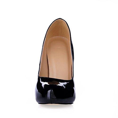 Seul le sens de l'automne les femmes de tempérament réformateur et boîtes de chaussures femmes grandes cuir vernis noir chaussures à haut talon Black VxgW4s1