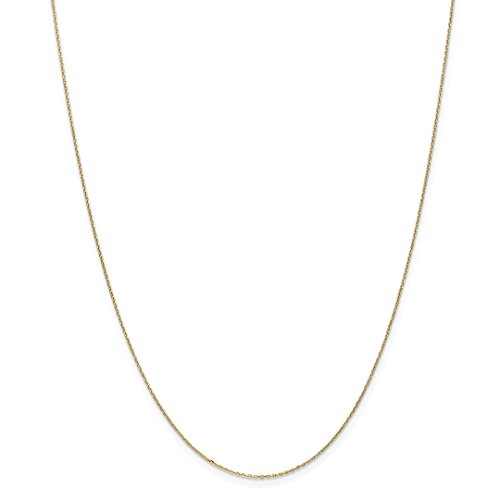ow Gold .8mm Link Cable Chain Necklace 18 Inch Pendant Charm Round Fine Jewelry Ideal Gifts For Women Gift Set From Heart ()
