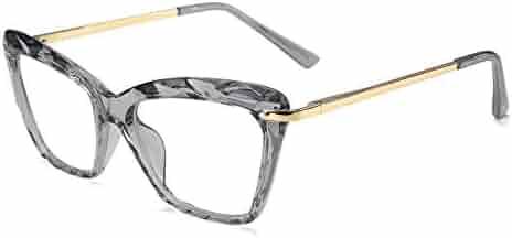 f74ab9fe992e FEISEDY Cat Eye Glasses Frame Crystal Non Prescription Eyewear Women B2440