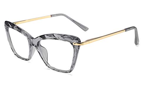 FEISEDY Cat Eye Glasses Frame Crystal Non Prescription Eyewear Women B2440 (Grey, - Frame Cat Glasses Eye