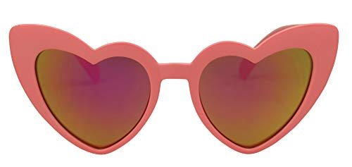 ShadyVEU - Trendy Kids Heart Shaped Love Colorful Girls Toddlers Ages 2-6 Yrs. Oversize Sunglasses (Coral, Magenta - Magenta Heart