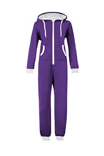 WOTOGOLD Men and Women Adult Pajamas Sportswear Hooded Unisex Jumpsuit Purple]()