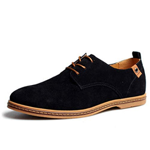 2018 Fashion Men Casual Shoes New Spring Men Flats lace up Oxfords Men Leather Shoes Size 38-48,Black,12.5