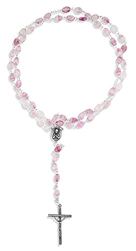 Beautiful Catholic Rosary with Swirl Glass Beads - Vatican Imports (Rose) ()