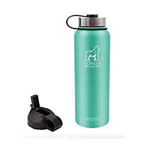 GORILLA GEAR Vacuum Insulated Stainless Steel Water Bottle - 40 oz (Ocean Mint)