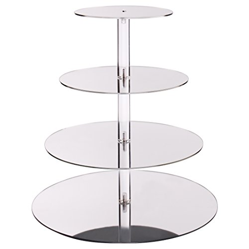 Elimoons 4 Tier Acrylic Nontoxic Cupcake Stand, Tiered Cake Dessert Display Tree Tower for Wedding, Party, Various Events, Mirrored Round
