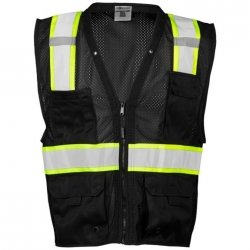 ML Kishigo Men's Enhanced Visibility Multi-Pocket Mesh Vest — Black, 4XL/5XL, Model# B100-4X-5X