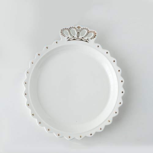 Meikaerduo Cake Noodle Breakfast Plate White Minimalist Creative European Cute Home Girl Heart Princess Crown Ceramic Western Steak Fruit Plate Nordic Tableware (Color : Gold)