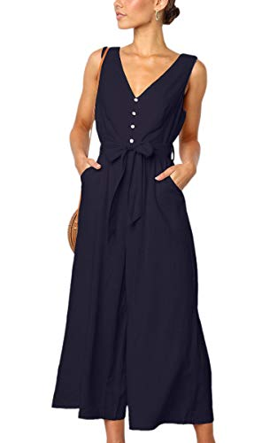 ECOWISH Womens Jumpsuits Casual Button Deep V Neck Sleeveless High Waist Wide Leg Jumpsuit Rompers with Pockets 272 Navy Blue XL (Wrap Jumpsuit)