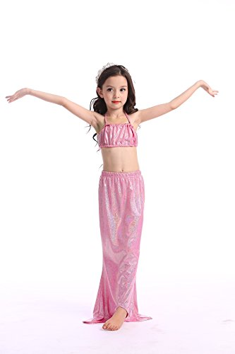 Lonchee Girl's 3pcs Mermaid Tail Swimmable Princess Bikini Set Bathing Wear Costume Swimwear - Detangler Silverado