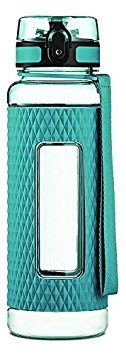 Swig Savvy Sports Water Bottle - with Silicone Sleeve. Fruit Infuser Water Bottle Filter and Leak Free Flip Top, EZ Open with One Click,Tritan Co-Polyester Plastic, 32oz - 25oz - 16oz (Green, 16 oz)