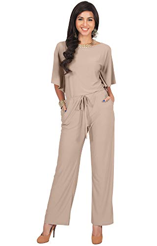 KOH KOH Womens Short Sleeve Long Pants Suit Jumpsuit Playsuit One Piece Romper