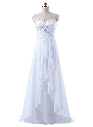 Nitree Women's Sweetheart Chiffon Long Beach Wedding Dress Bridal Gown White 12
