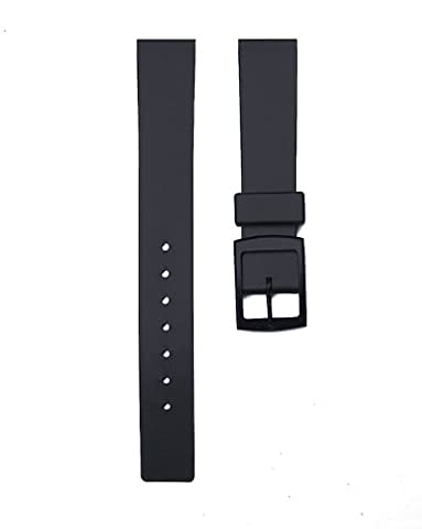 15mm Soft Black Rubber watch Band Strap fits Swiss Army Ladies Renegade, TAG ladies Formula 1 & (Swiss Army Renegade Watch)