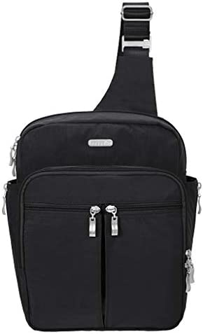Baggallini Messenger Sling Organizer Shoulder Backpack Bag w Key Chain Black MES160