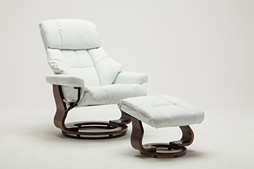 Madison Home Mid Century Modern Bonded Leather Lounge Swivel and Recliner Chair with Foot Stool Ottoman White - Leather Recliner Footstool