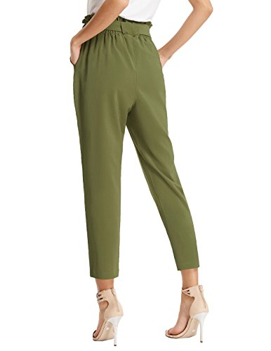 Women's Simple Solid Ruffle Tie Waist Pants with Pockets M AF1011-3 Army Green