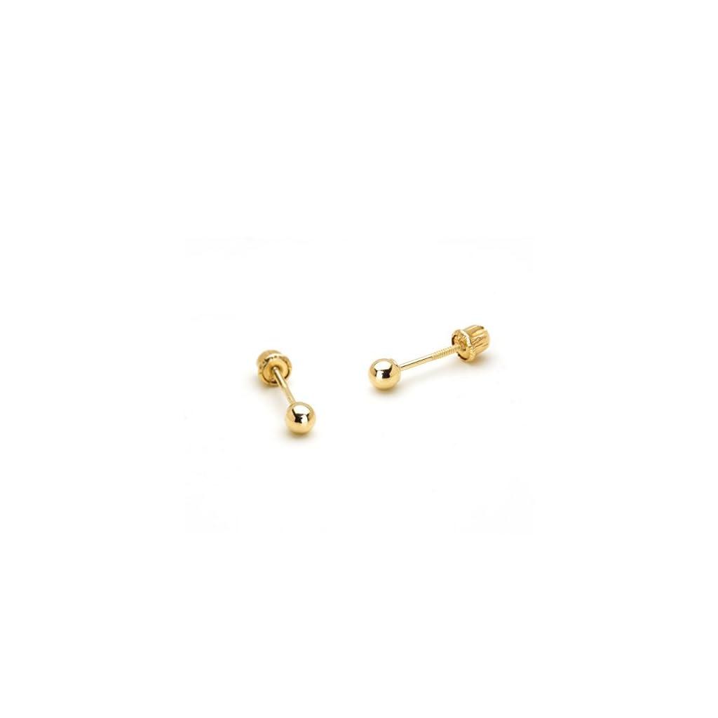 5c1c37829 14k Yellow Gold 2,3,4,5,6mm Plain Hollow Gold Ball Children Screw back Baby  Girls Stud Earrings | Beautiful Cool Jewelry