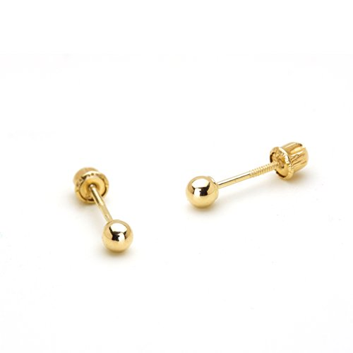 14k Yellow Gold 2mm Plain Hollow Gold Ball Children Screw back Baby Girls Stud (14k Baby Stud)
