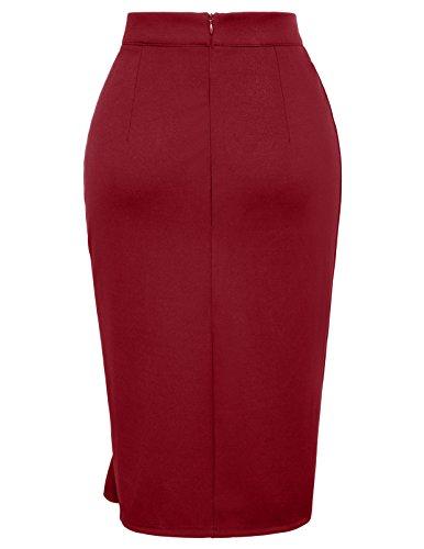 GRACE KARIN Women Office Pencil Skirt Midi Bodycon Skirt Size L Wine Red