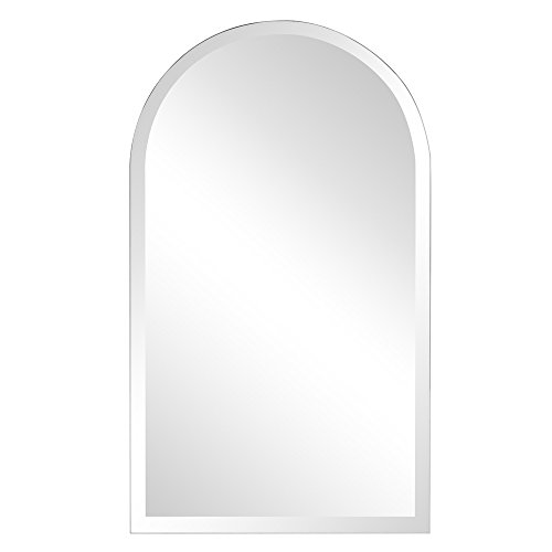 Howard Elliott Frameless Hanging Wall Mirror, Arched (19 x 32 Inch), Silver - Bathroom, Vanity, Bedroom