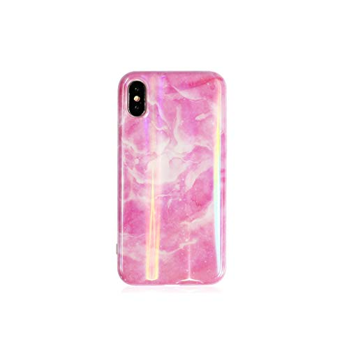 Glossy Phone Case for iPhone 6 6S 7 8 Plus X XS MAX XR Beautiful Holographic Laser Marble Soft IMD Phone Cases Shells,b,for iPhone Xs ()