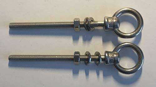 2 Pieces Stainless Steel 316 M6 Lifting Eye Bolt 6mm x 80mm Marine Grade US Stainless Shape Type 307