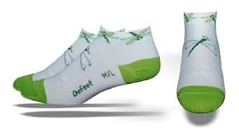 DeFeet Women's Speede Dragonfly Socks,White/Light Green,Small/Medium
