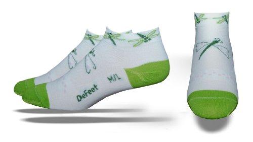 - DEFEET Women's Speede Dragonfly Socks,White/Light Green,Medium/Large