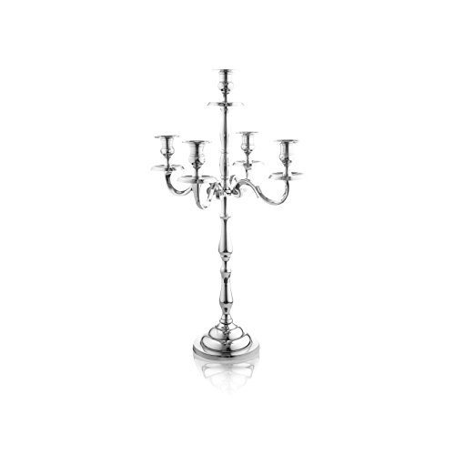 Klikel Heritage 16 Inch Silver 5 Candle Candelabra - Classic Elegant Design - Wedding, Dinner Party And Formal Event Centerpiece - Nickel Plated Aluminum, Mirrored Finish