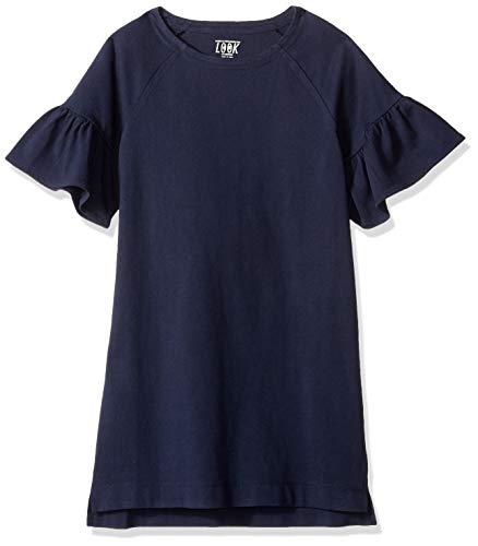 LOOK by Crewcuts Girls' Flare Sleeve Dress, Navy, X-Large (12)]()
