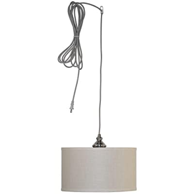 Hampton Bay Carroll 1-light 14 In. Brushed Nickel Swag Drum Pendant
