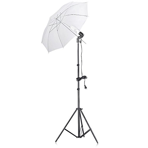 Neewer 200W 5500K Continuous Lighting Umbrella Kit for Photo Studio Video Shooting,includes:(1)74.8″/190cm Light Stand+(1)Single Head Light Holder+(1)45W Daylight Bulb +(1)33″/84cm White Umbrella
