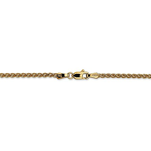 - 2 mm 14k Yellow Gold Spiga Wheat Chain Necklace - 30 Inch