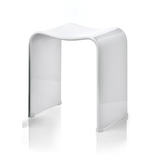 DWBA Backless Shower Bench Stool Chair Bathroom Shower Seat, Acrylic Shiny (White)