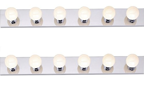 Six Light Vanity Strip, Polished Chrome, 36-Inch - 2 Pack