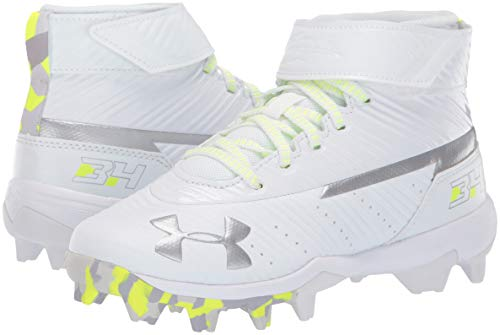 Under Armour Boys' Harper 3 Mid Jr. RM Baseball Shoe, (100)/White, 1.5 by Under Armour (Image #6)